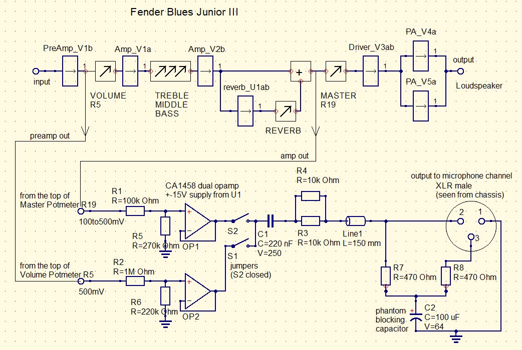 tube amp output Fender Blues Jr Schematic on